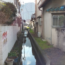 A quiet, small path of water in the morning reflecting the city on its surface.